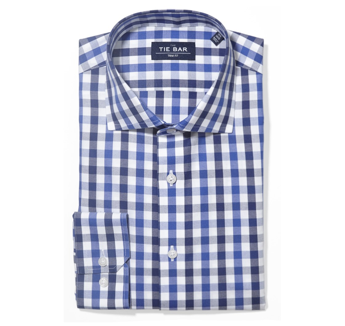 """Large Two Color Gingham - Navy - Trim 14.5"""" x 32/33"""" - Shirts"""