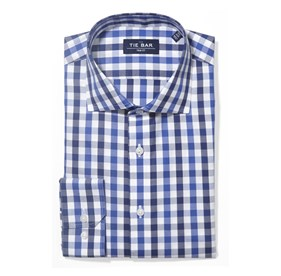 Navy Large Two Color Gingham non-iron dress shirt