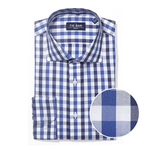 large two color gingham navy non-iron dress shirt