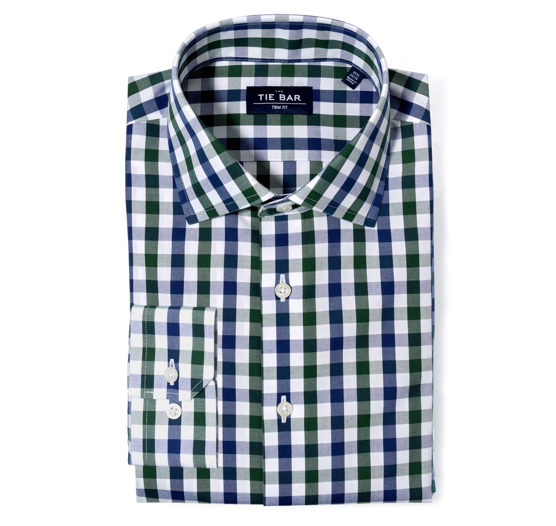 """Large Two Color Gingham - Hunter Green - Trim 15.5"""" x 32/33"""" - Shirts"""