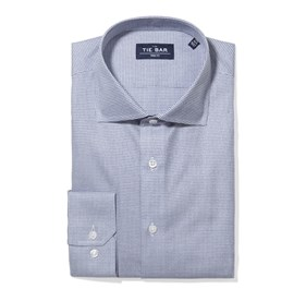 Navy Petite Houndstooth non-iron dress shirt