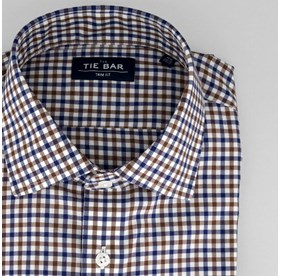 Navy Multi Tone Gingham non-iron dress shirt