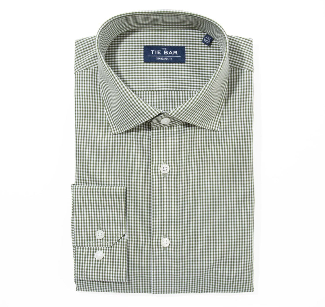 "Petite Gingham - Hunter Green - Trim 15.5"" x 34/35"" - Shirts"