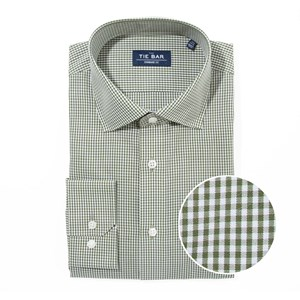 petite gingham hunter green non-iron dress shirt