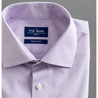 petite houndstooth lavender non-iron dress shirt