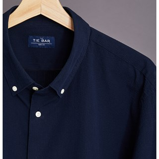 seersucker navy dress shirt