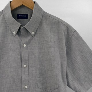 Solid Cotton Grey Short Sleeve Shirt