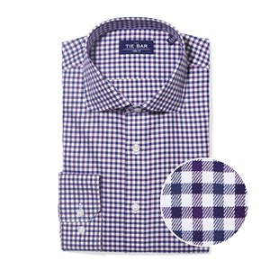 multi tone gingham purple non-iron dress shirt