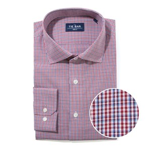 bold plaid burgundy non-iron dress shirt