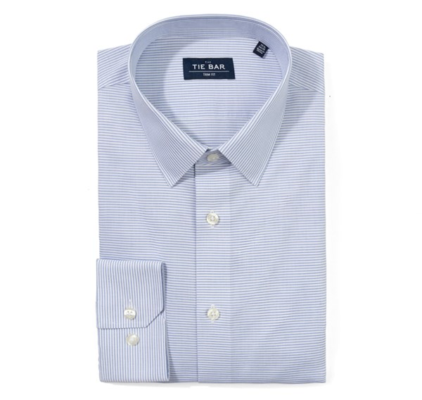 Horizontal Stripe Blue Non-Iron Shirt