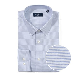 horizontal stripe blue non-iron dress shirt