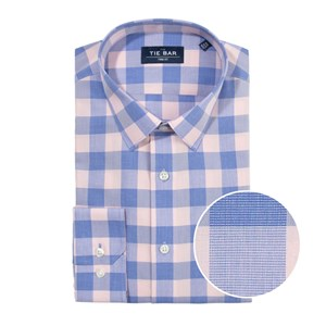 bold gingham pink non-iron dress shirt