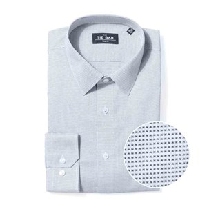 micro houndstooth geo navy non-iron dress shirt