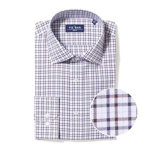 two tone tattersall burgundy non-iron dress shirt