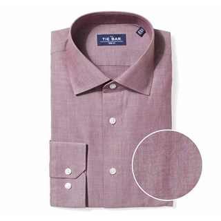 Polished Chambray Burgundy Dress Shirt