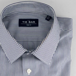 vertical stripe blue non-iron dress shirt