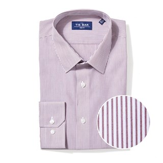 vertical stripe burgundy non-iron dress shirt