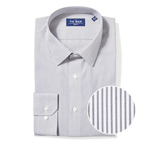 vertical stripe olive green non-iron dress shirt