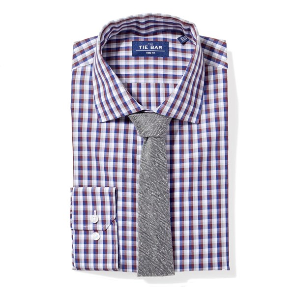 Navy Faded Gingham Non-Iron Shirt
