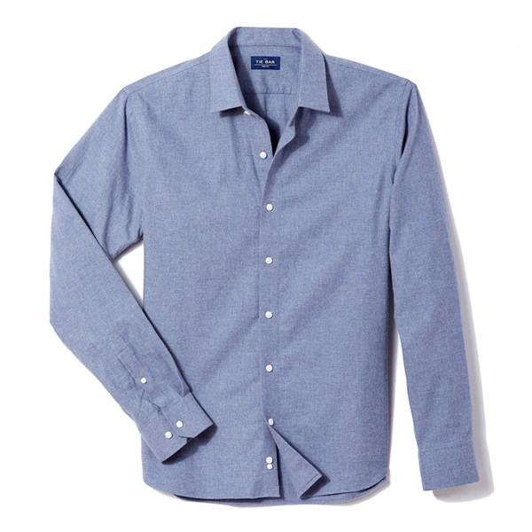 Blue Solid Flannel Shirt