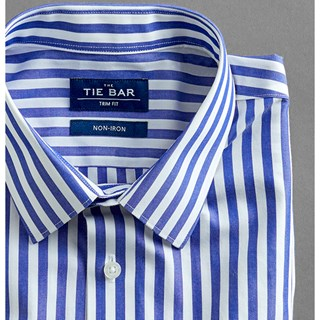oversized vertical stripe blue non-iron dress shirt