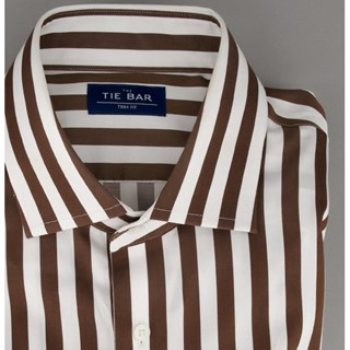 bungalow stripe brown dress shirt