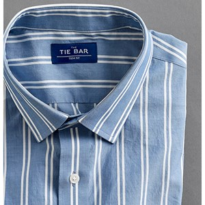 double vertical stripe blue dress shirt