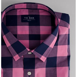 buffalo check bright pink dress shirt
