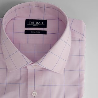 Striped Windowpane Pink Non-Iron Dress Shirt