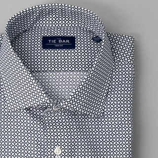 Merola Dot Print Navy Dress Shirt