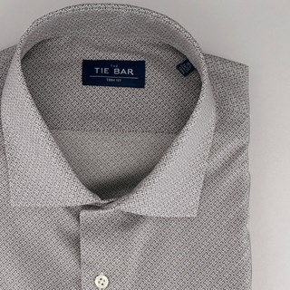 square motif print grey dress shirt