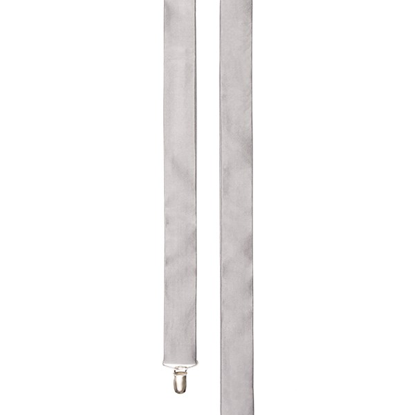 Silver Solid Satin Suspender