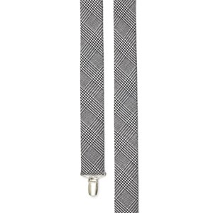 wool suiting glen check black suspenders