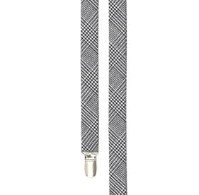 Black Wool Suiting Glen Check suspenders