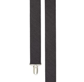 Black Wool Suiting Herringbone suspenders