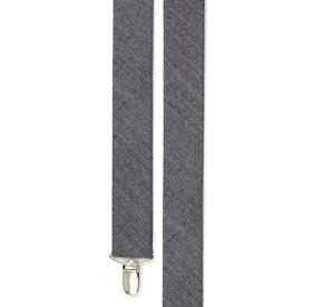 Grey Wool Suiting Herringbone suspenders