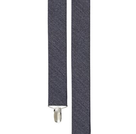 Grey Wool Suiting Solid suspenders