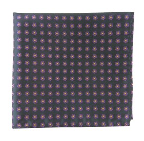 Steel Grey Anemones pocket square