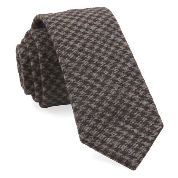 Brown Brushed Cotton Houndstooth Tie