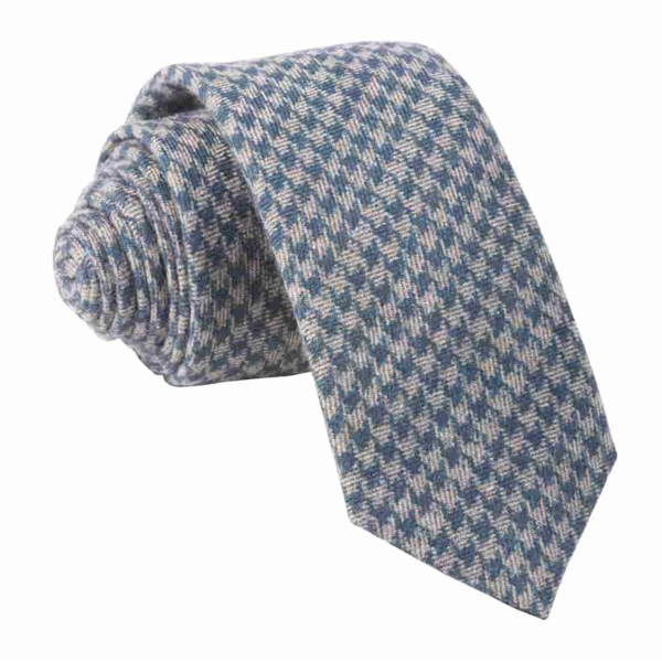Navy Brushed Cotton Houndstooth Tie