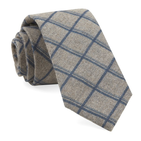 Brushed Cotton Jet Plaid Navy Tie