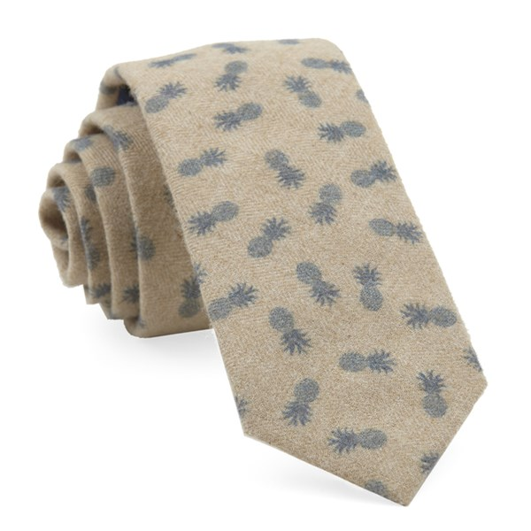 Slate Blue Brushed Cotton Pineapples Tie