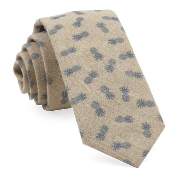 Brushed Cotton Pineapples Slate Blue Tie