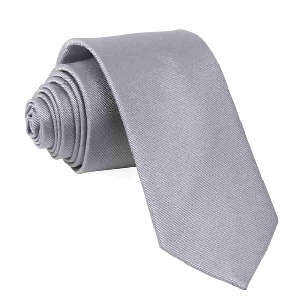 Grey Grosgrain Solid Tie