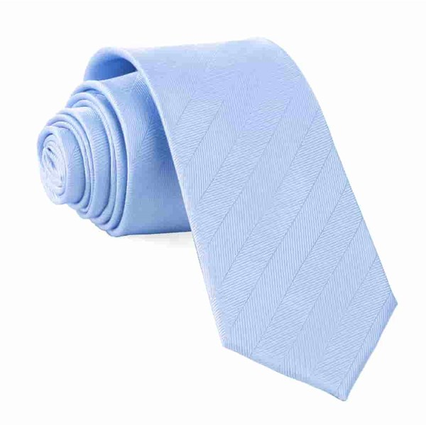 Light Blue Herringbone Vow Tie