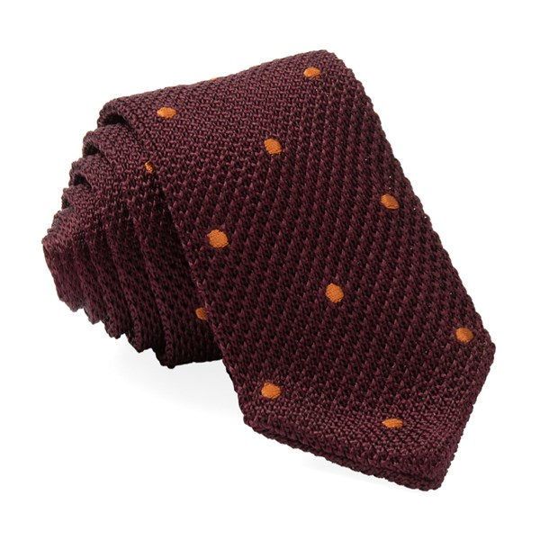 Burgundy Pointed Tip Knit Polkas Tie