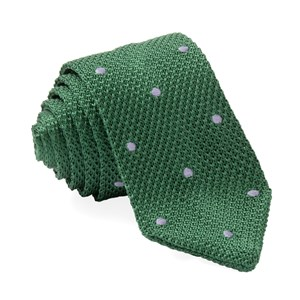 pointed tip knit polkas green ties