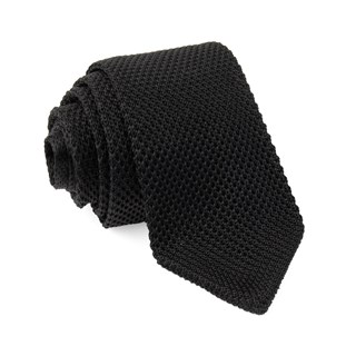 pointed tip knit black ties