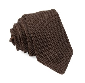 Brown Pointed Tip Knit ties