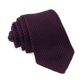 Eggplant Pointed Tip Knit ties